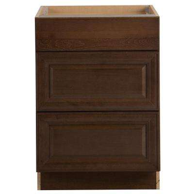 Benton Assembled 24x34.5x24 in. Base Cabinet with 3-Soft Close Drawers in Butterscotch