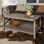 40 in. Grey Wash and Black Rustic Urban Industrial Metal X Coffee Table