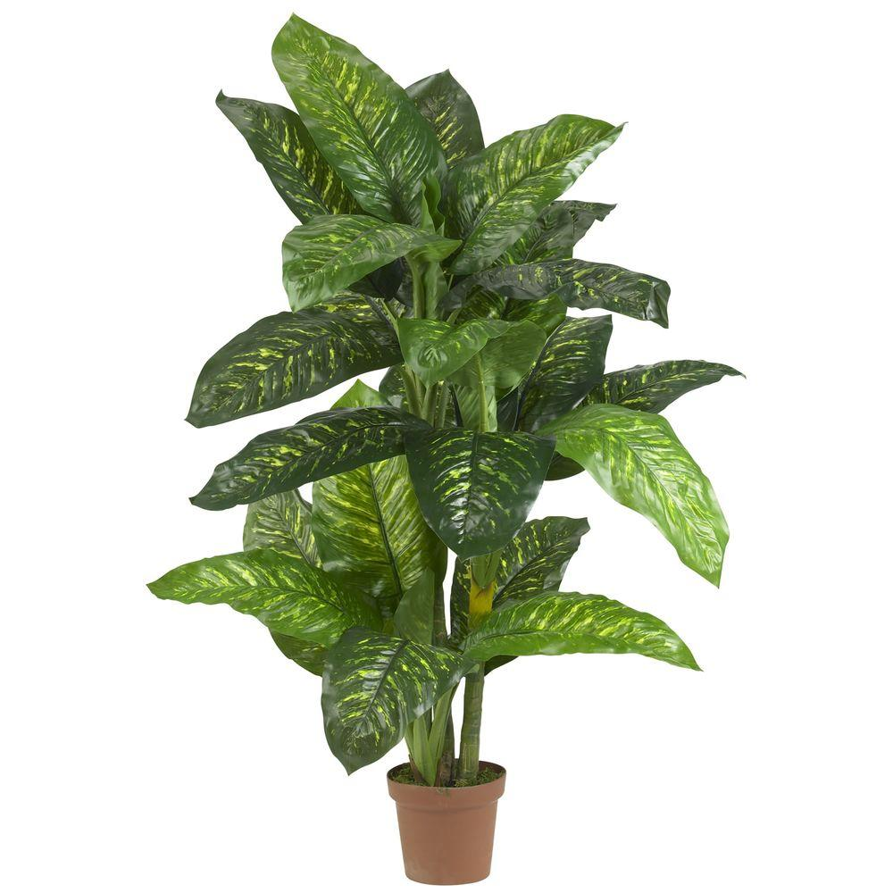 nearly natural real touch 5 ft. green dieffenbachia silk potted Silk House Plants