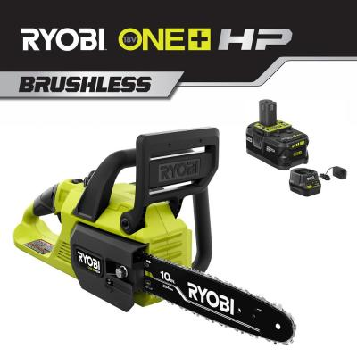 One+ 10 in. 18-Volt HP Brushless Lithium-Ion Electric Cordless Chainsaw 4.0 Ah Battery and Charger Included