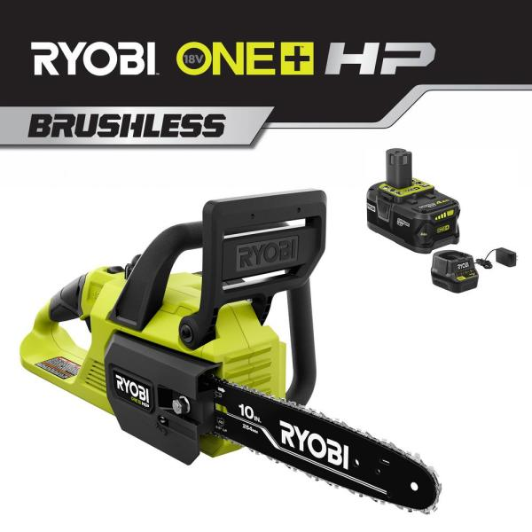 ONE+ 10 in. HP 18-Volt Brushless Lithium-Ion Electric Cordless Chainsaw - 4.0 Ah Battery and Charger Included
