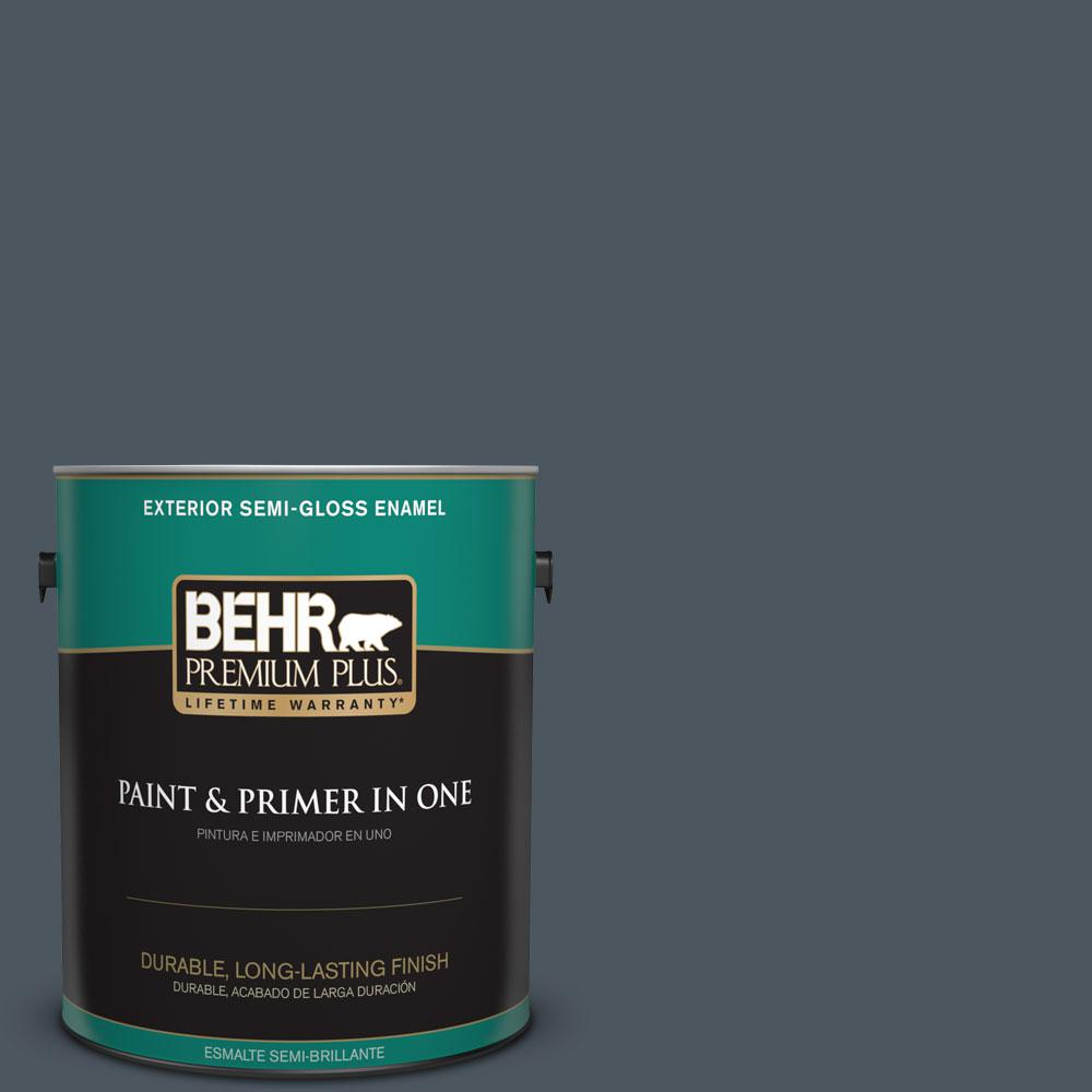 1-gal. #N480-7 Midnight Blue Semi-Gloss Enamel Exterior Paint