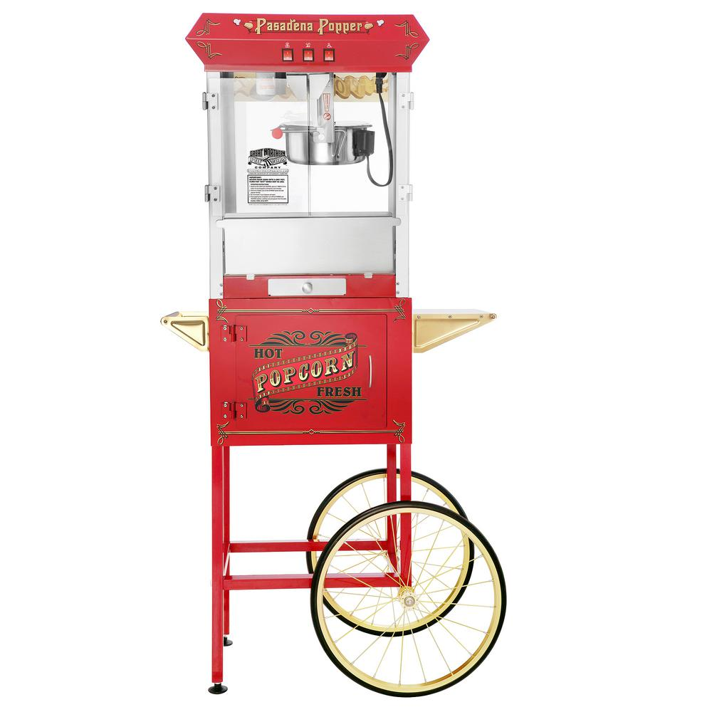 Great Northern Princeton 8 oz. Antique Red Popcorn Machine with Cart