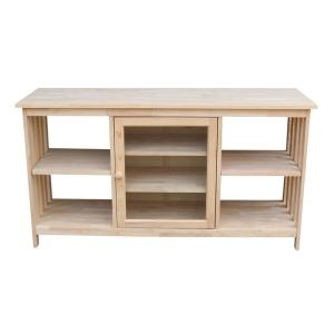 International Concepts 56 in. Unfinished Wood TV Stand Fits TVs Up to 60 in. with Storage Doors
