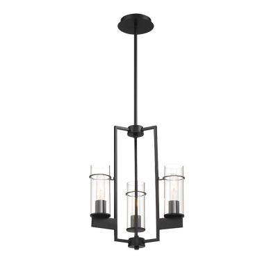 3-Light Matte Black Pendant with Clear Glass Shades