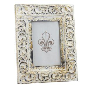 Stonebriar Collection 1-Opening 4 inch x 6 inch Vintage White Wood Picture Frame by Stonebriar Collection