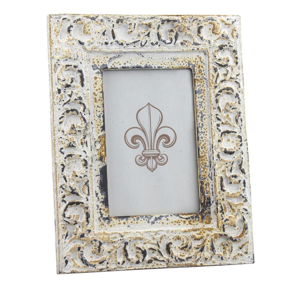 Charmant Stonebriar Collection 1 Opening 4 In. X 6 In. Vintage White Wood Picture  Frame SB 5163A   The Home Depot