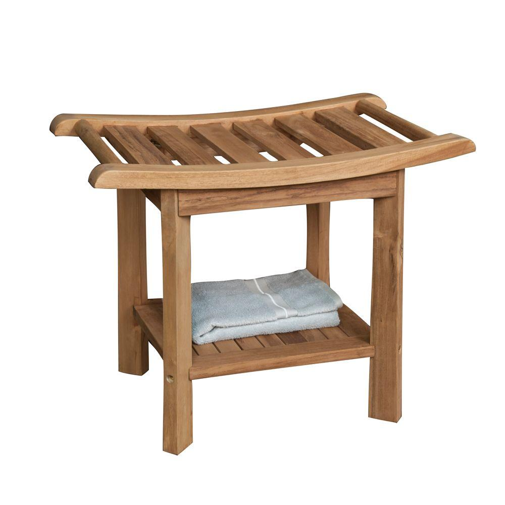 null 24 in. Teak Curved Slatted Shower Seat