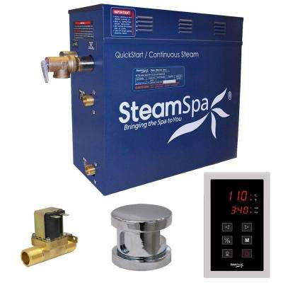 Oasis 9kW QuickStart Steam Bath Generator Package with Built-In Auto Drain in Polished Chrome