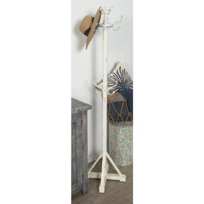70 in. Rustic Wooden and Metal Coat Rack