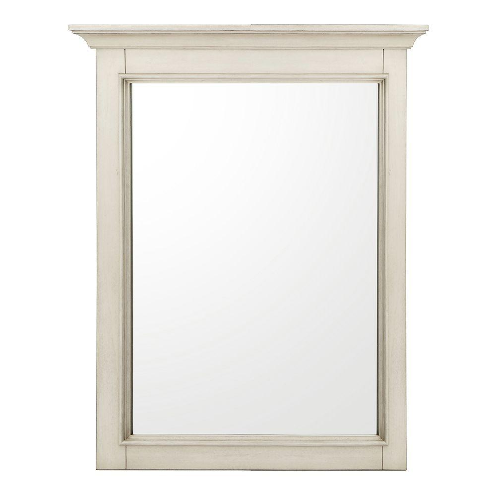 Home Decorators Collection Klein 30 in. L x 24 in. W Wall Mirror in Antique White