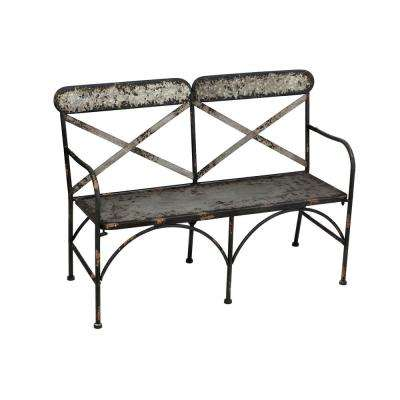 46 in. Galvanized Metal Double Chair Outdoor Bench