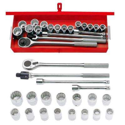 3/4 in. Drive 12-Point Metric Hand Socket & Accessories Set (19-Piece)