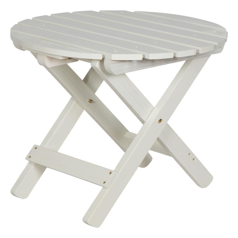 19.5 in. Tall Eggshell White HYDRO-TEX Finish Round Cedar Wood Adirondack Outdoor Folding Side Table