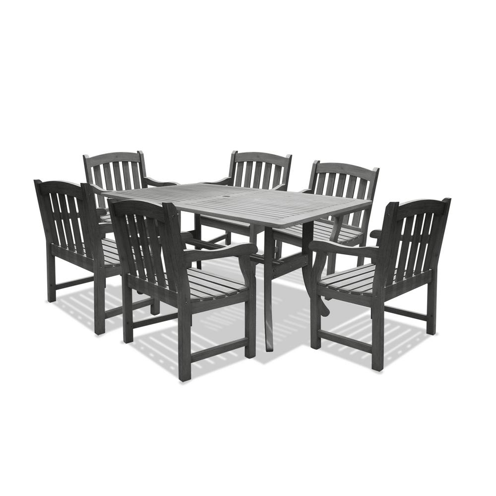 Vifah Renaissance Acacia 7-Piece Patio Dining Set with 35 in. W Table and Arched Slat-Back Armchairs