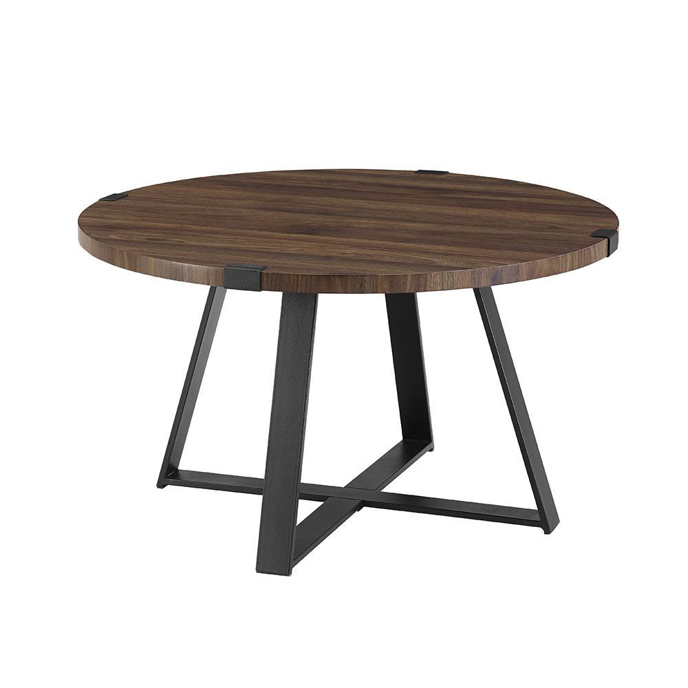 Superbe Dark Walnut/Black Rustic Urban Industrial Wood And Metal Wrap