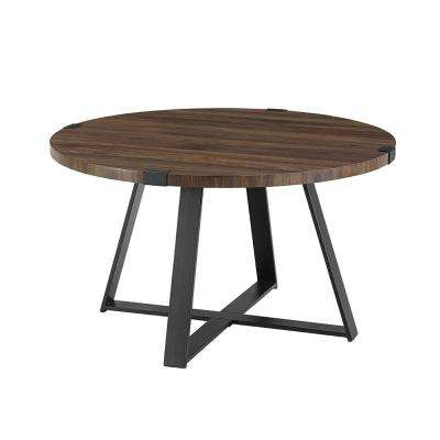 30 in. Dark Walnut/Black Rustic Urban Industrial Wood and Metal Wrap Round Coffee Table