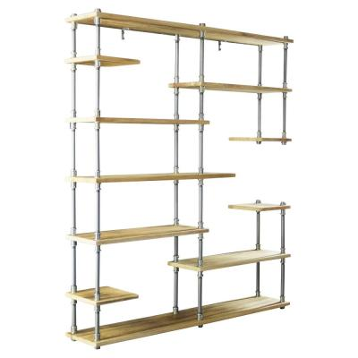 New Age 73 in. Brushed Brass/Aged Gray Metal 11-shelf Etagere Bookcase with Open Storage
