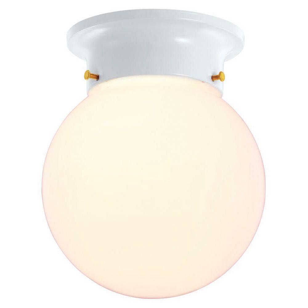 Hampton Bay 1 Light White Globe Flushmount