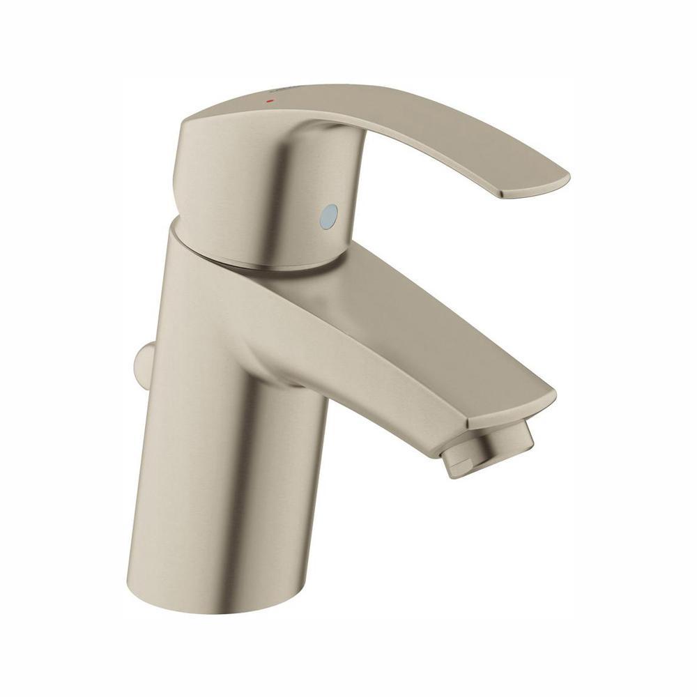 GROHE Eurosmart Single Hole Single-Handle Low-Arc Bathroom Faucet in Brushed Nickel InfinityFinish