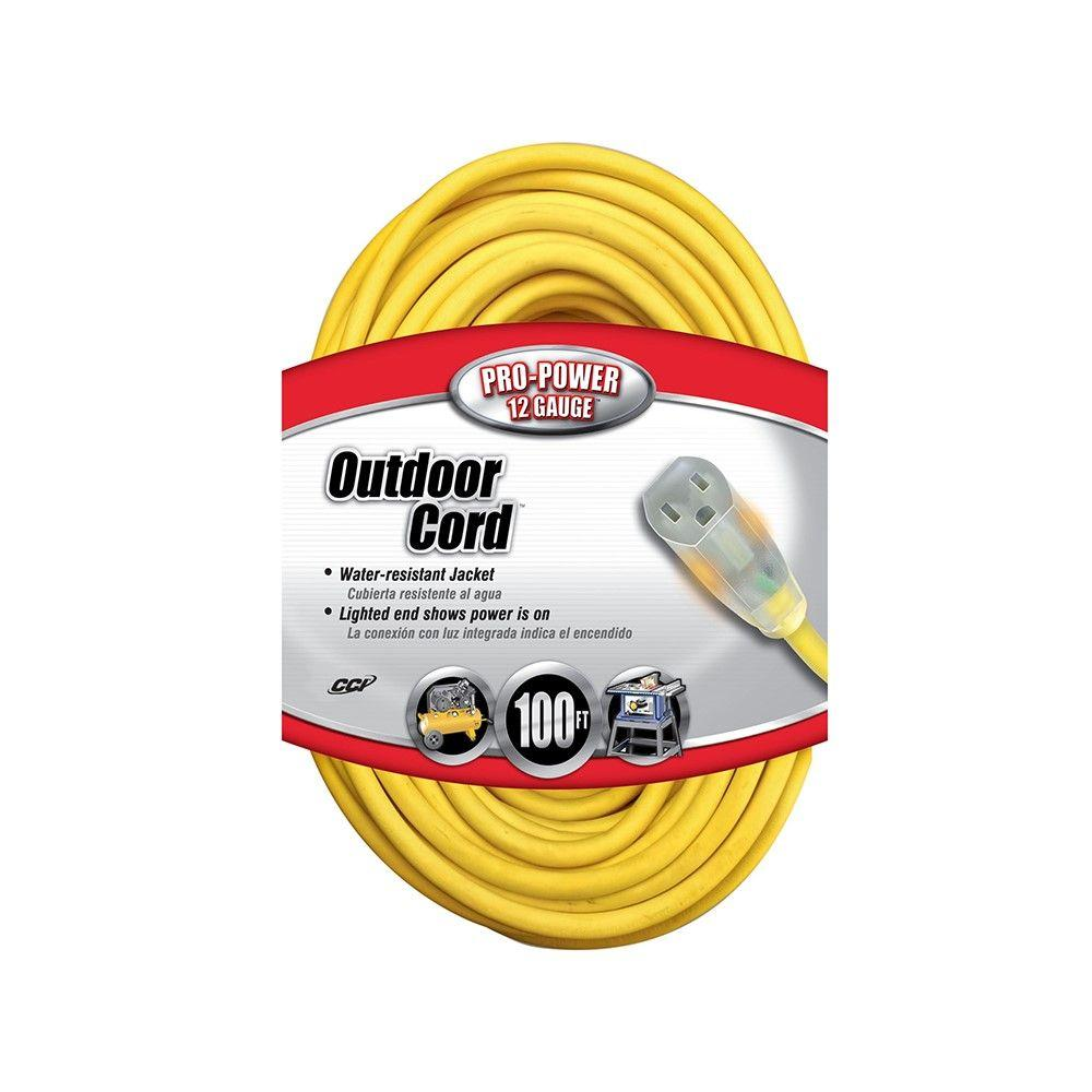 12/3 SJTW 100 ft. Outdoor Extension Cord with Power Light Ends