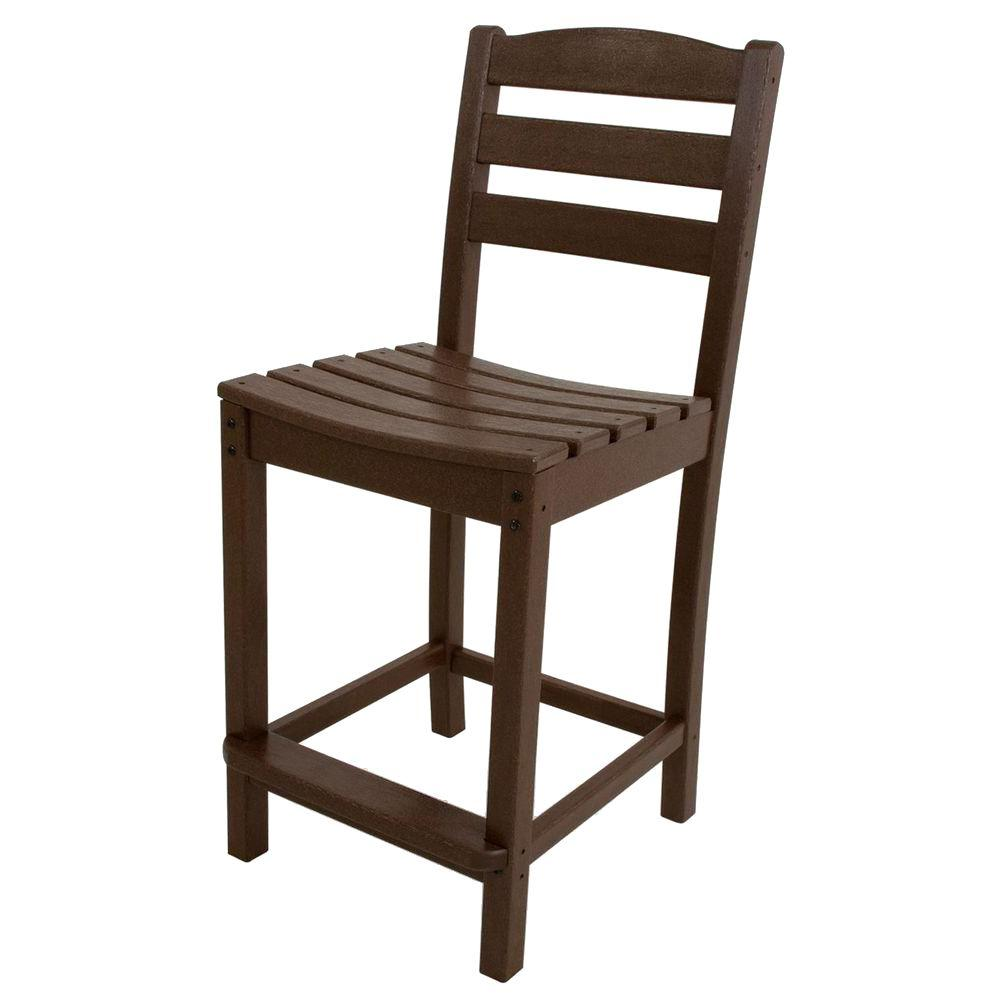 La Casa Cafe Mahogany Plastic Outdoor Patio Counter Side Chair