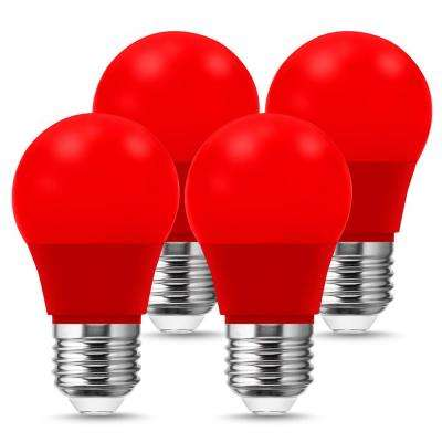 20-Watt Equivalent A15 3-Watt Non-Dimmable Red LED Colored Light Bulb E26 Base (4-Pack)