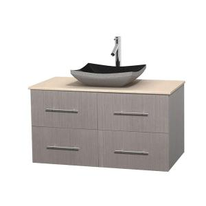 Wyndham Collection Centra 42 inch Vanity in Gray Oak with Marble Vanity Top in Ivory and Black Granite Sink by Wyndham Collection