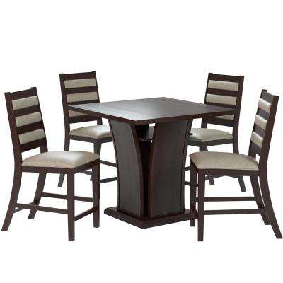 Bistro 5-Piece Counter Height Cappuccino Dining Set  with Platinum Sage Chairs