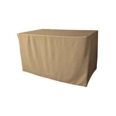 48 in. L x 30 in. W x 30 in. H Taupe Polyester Poplin Fitted Tablecloth