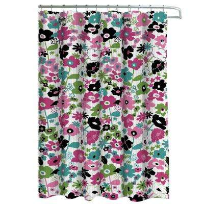 Oxford Weave Textured 70 in. W x 72 in. L Shower Curtain with Metal Roller Hooks in Stencil Floral Pink/Black