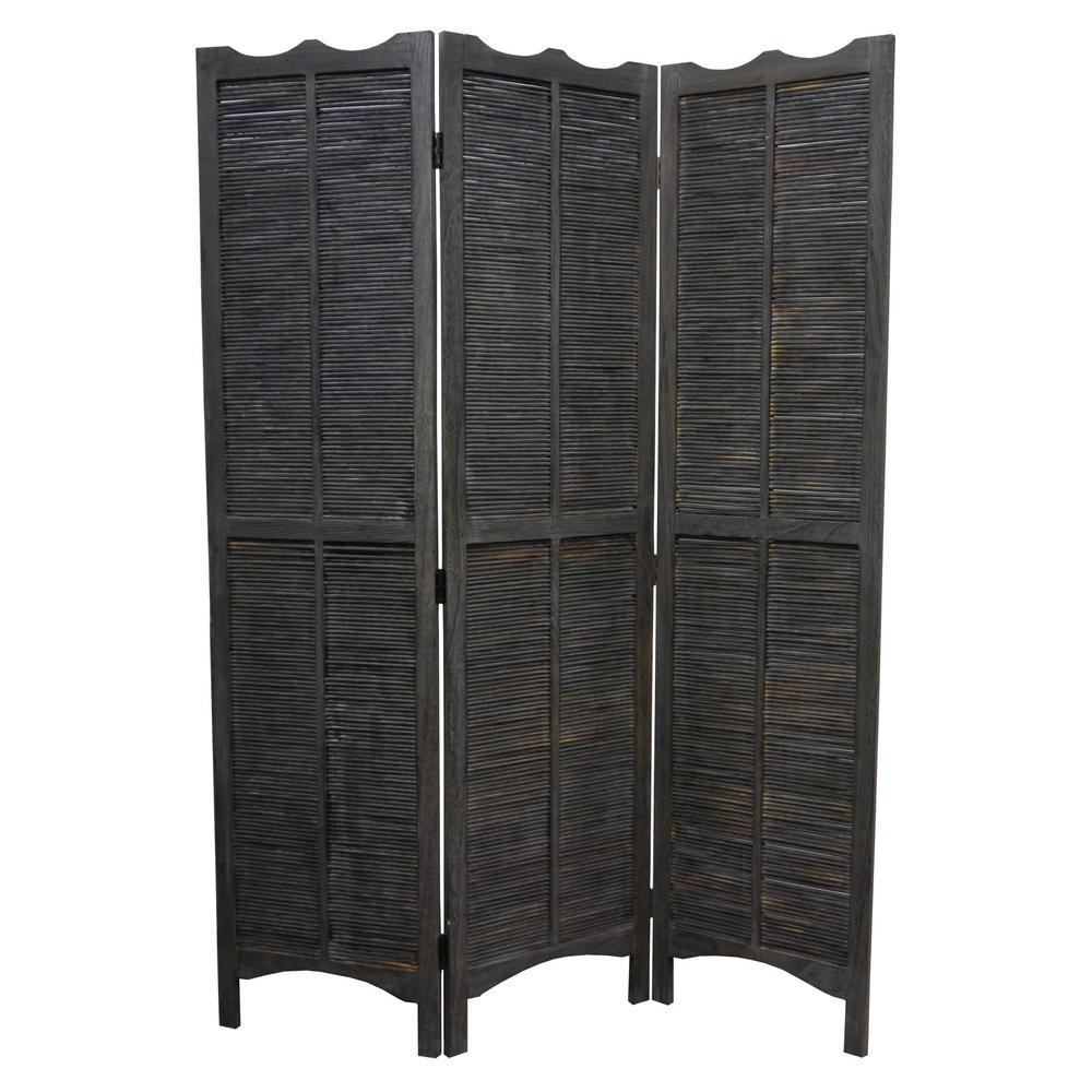 MADRAS 6 ft. Brown 3-Panel Room Divider