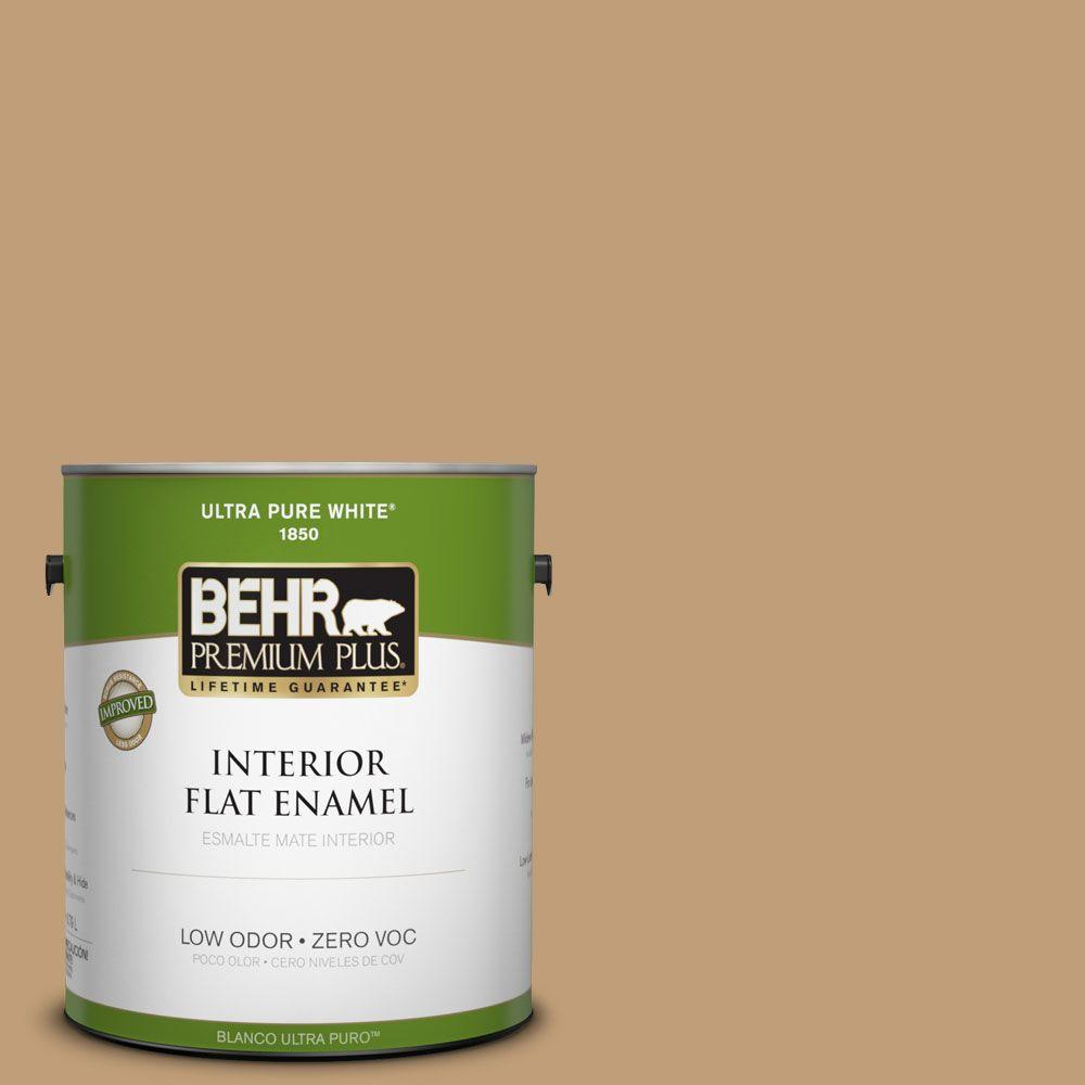 BEHR Premium Plus 1-gal. #300F-4 Almond Toast Zero VOC Flat Enamel Interior Paint-DISCONTINUED