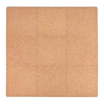 Cork Laminate 36 in. x 36 in. EVA Floor Mat Set