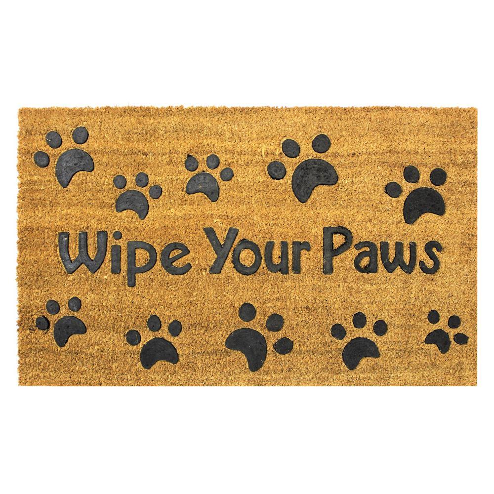 Wipe Your Paws Embossed 30 inch x 18 inch Coir Door Mat
