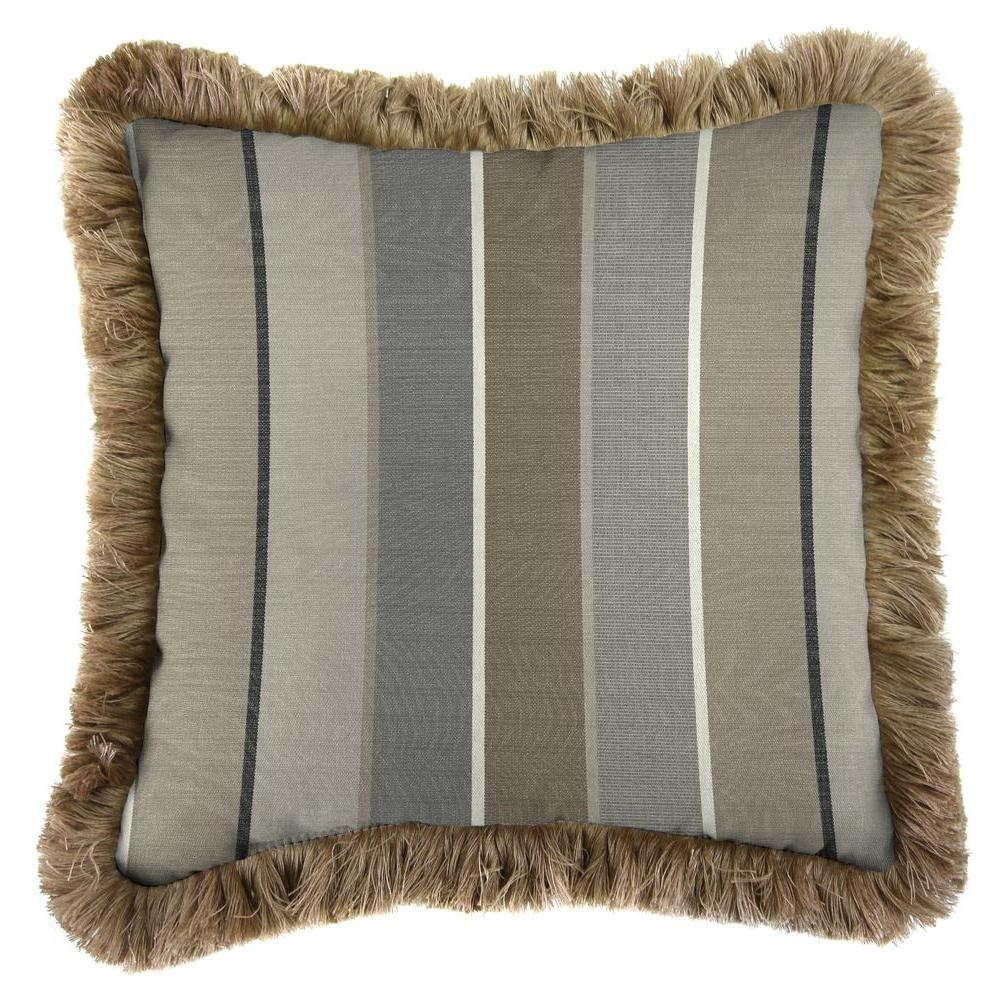 Sunbrella Milano Charcoal Square Outdoor Throw Pillow with Heather Beige Fringe