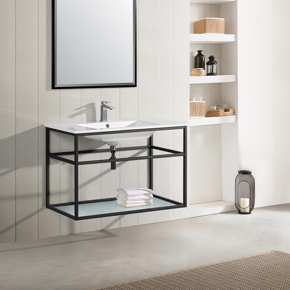 Pierre 36 in. Single, Metal Frame, Open Shelf, Bathroom Vanity in Black, Vanity Top in White with White Basin