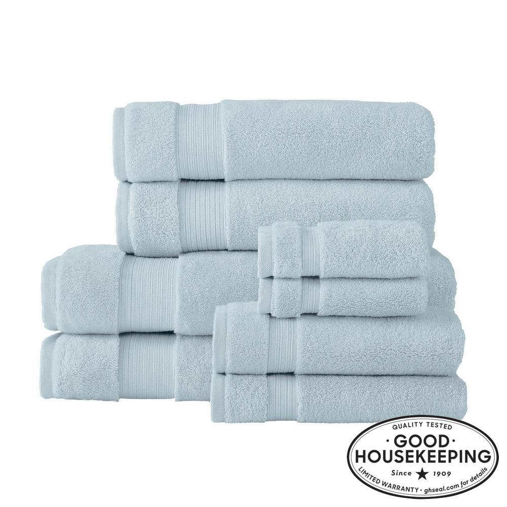 Egyptian Cotton 8-Piece Bath Sheet Towel Set in Raindrop