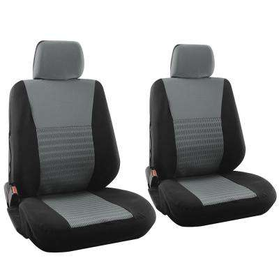 Polyester Seat Covers Set 26 in. L x 21 in. W x 48 in. H 6-Piece Seat Cover Set Wide Stripe Black and Gray