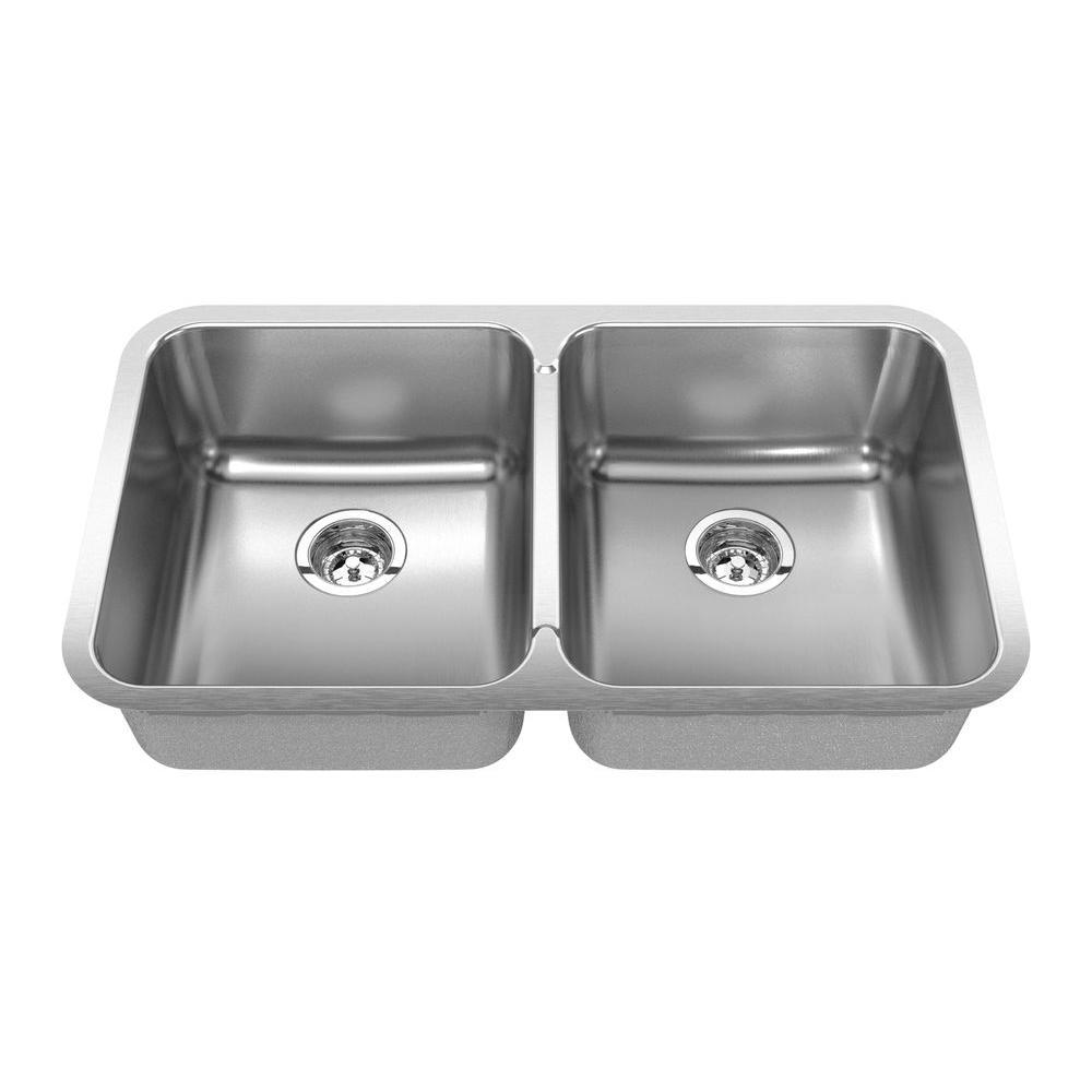 SINKOLOGY Pinnacle Undermount Stainless Steel 30-7/8 in. 0-Hole Double Basin Kitchen Sink with Satin Finish