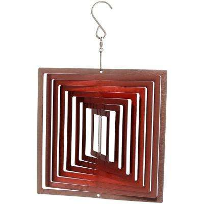 6 in. 3D Ruby Red Square Whirligig Outdoor Wind Spinner with Hook