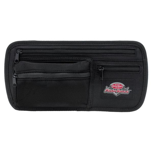 Auto Boss Visor Organizer with Adjustable Elastic Straps and Zipped Pockets in Black