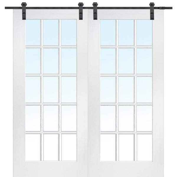 72 in. x 84 in. 15 Lite True Divided Primed MDF Sliding Barn Door with Hardware Kit