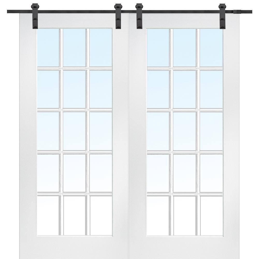 72 in. x 84 in. 15 Lite True Divided Primed MDF Barn Door with Sliding Door Hardware Kit