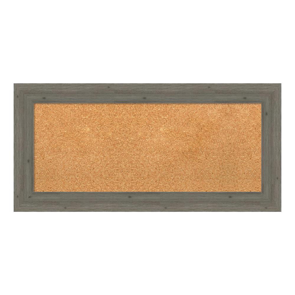 Amanti Art Fencepost Grey Narrow Framed Cork Memo Board DSW4094358
