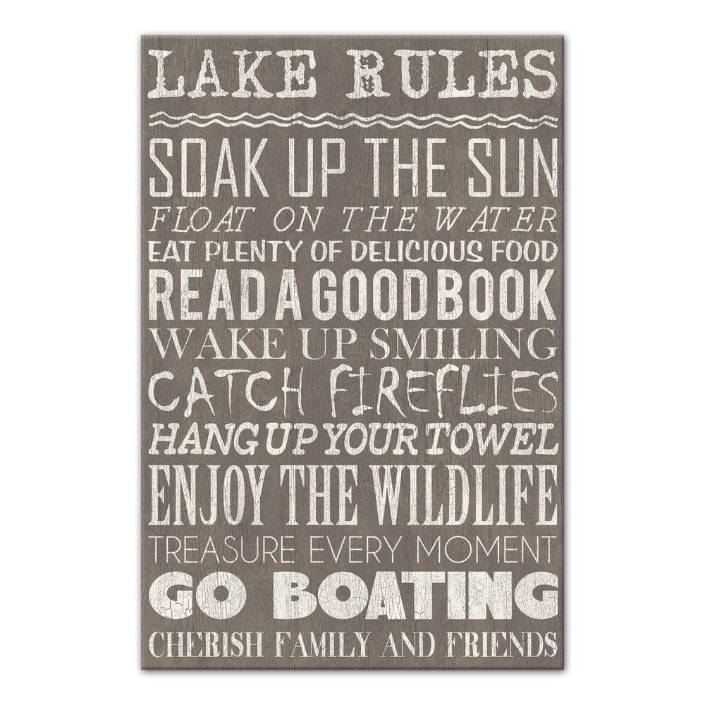 "24 in. x 16 in. ""Lake Rules Gray"" Printed Canvas Wall"