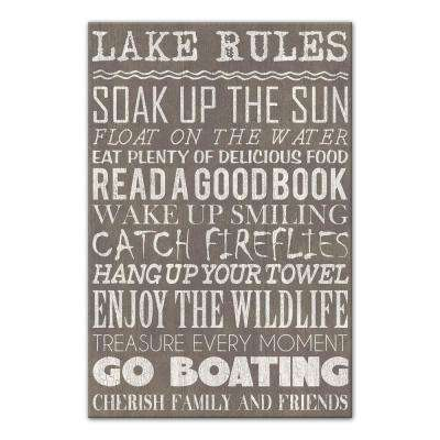 "24 in. x 16 in. ""Lake Rules Gray"" Printed Canvas Wall Art"