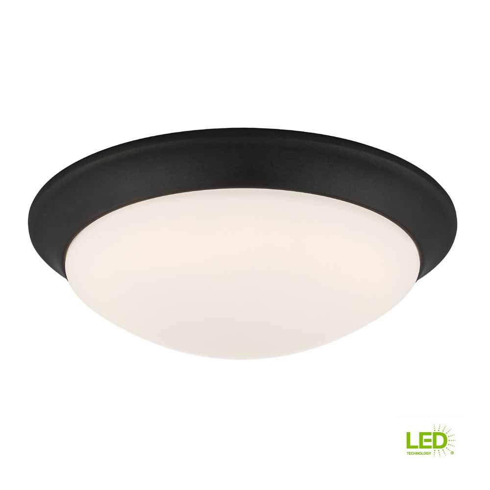 120 Watt Equivalent Satin Bronze Integrated Led Flush Mount With Frosted White Gl Shade