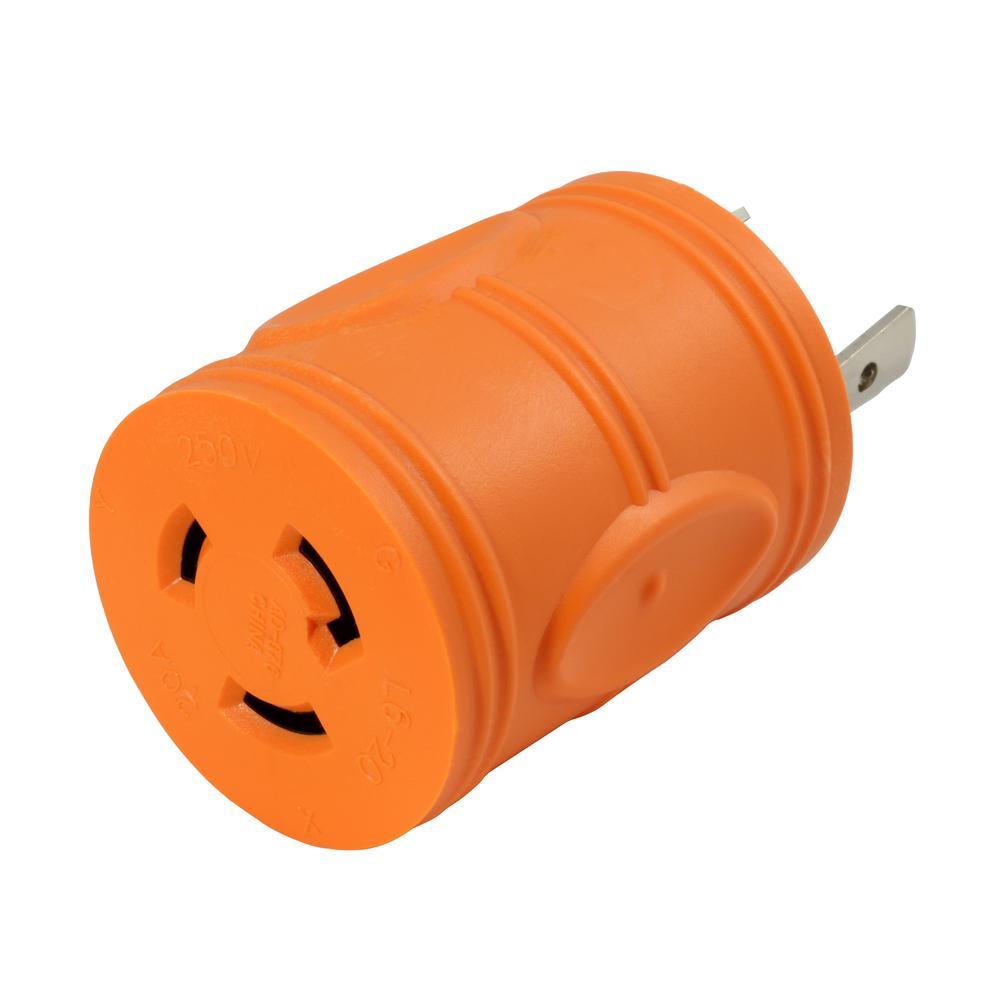Plug Adapter L6-30P 30 Amp 250-Volt Male Plug to L6-20R 20 Amp Locking Female Connector