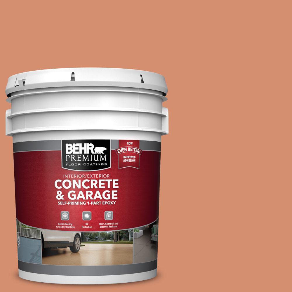 BEHR PREMIUM 5 gal. #PFC-12 Nuevo Terra Self-Priming 1-Part Epoxy Satin Interior/Exterior Concrete and Garage Floor Paint